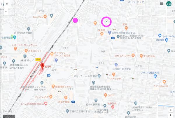 追い抜かれた場所の地図