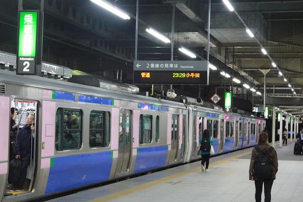 23時29分発の小牛田駅行きの列車