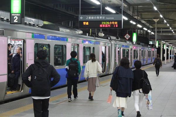23時29分小牛田駅行きの列車