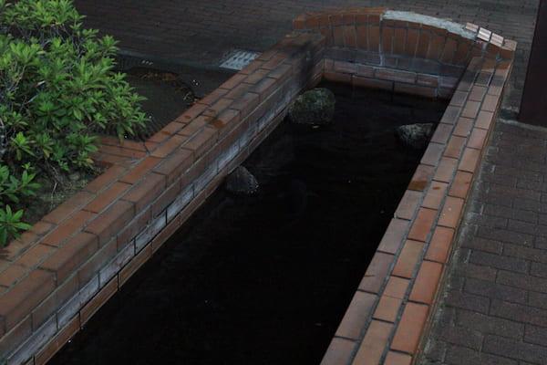 小牛田駅の道路の脇の水たまり