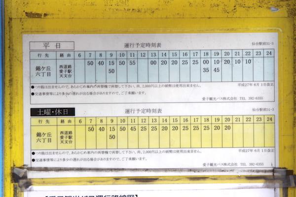 仙台駅からアクアテラス錦ヶ丘までのバス時刻表の画像