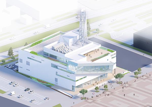 KHB東日本放送があすと長町に建設中の新社屋のイメージ画像