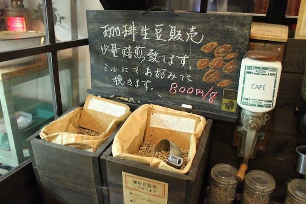 青山文庫の店内のコーヒー販売の画像