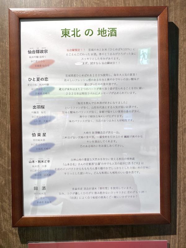 仙台駅新幹線改札内の日本酒のラインナップ・種類の画像