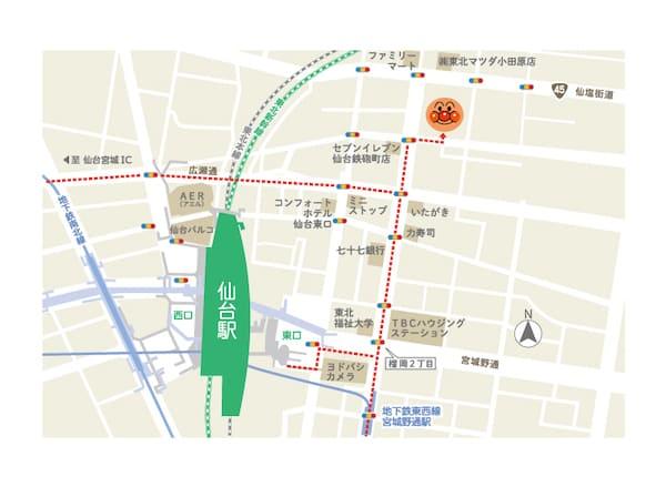 アンパンマンミュージアムのアクセスmap
